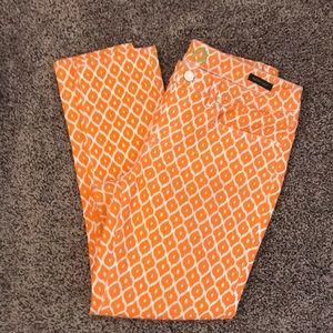 Orange print jeans by C wonder